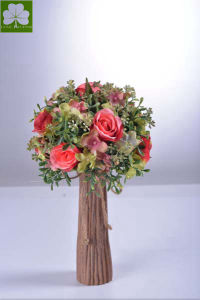 Artificial Rose with Boxwood Ball in Paper Mache Pot