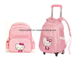 Child Girl Wheeled Trolley Schoolbag Student Pack Bag Backpack (CY3561) pictures & photos
