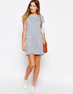 Custom Fashion Womens Stripe T Shirt Dress with Porket pictures & photos