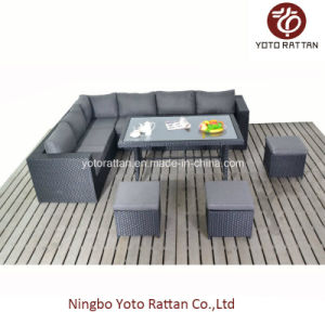Outdoor Rattan Table Sofa in Black (1304)