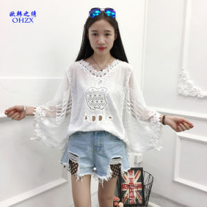 aa73782fc1bdda Lace up Blouse Shirt Women Sexy V-Neck Long Sleeve Blouse Black Loose Lace  Patchwork