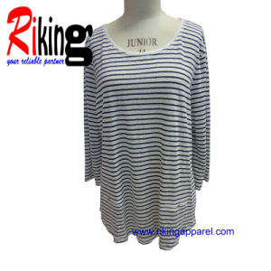 Fashion Ladies Garment Linen Stripes T Shirt (RKT1388)