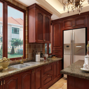Classic Red Cherry Solid Wood Kitchen Cabinet Furniture