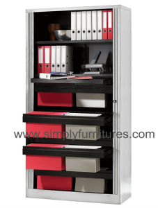 78 Inch High Tambour Sliding Door Office Cabinet Grey pictures & photos