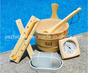 Wooden Sauna Bucket, Matching Ladle, Light and Sand Timer Kit