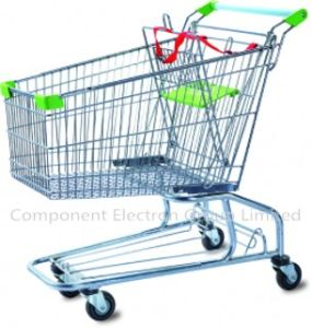 High Quality Metal Supermarket Four Wheel Shopping Trolley