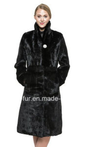 Women′s Black Faux/Fake Mink Fur Coat