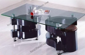 Tempered Glass Painted Black MDF Legs Coffee Table (SC-5131)