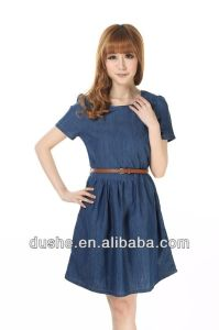 U′sake Girls Fashion Dark Blue Denim Summer Dress Designs S131223D
