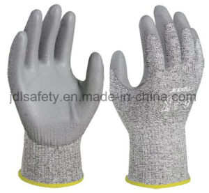 Cut Work Safety Glove with PU Coating (PD8045) pictures & photos