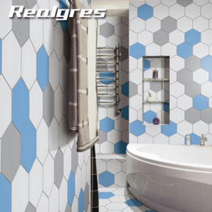 Light Blue Bathroom Tiles To 200x230mm Size Light Blue Color Hexagon Porcelain Floor Tiles China
