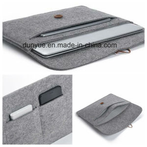 Young Design New Material of 70% Content Wool Felt Laptop Sleeve, Customized Portable Laptop Briefcase Bag with Button Closing