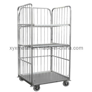 3 Sides 2 Layers Wire Mesh Supermarket Logistics Roll Trolley Cart pictures & photos