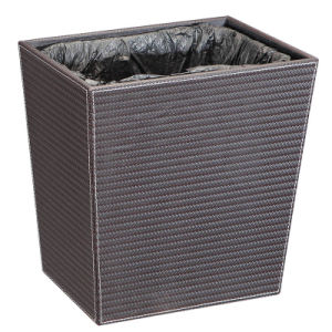 Rectangle Leather Hotel Waste Bin with Plastic Inner Liner pictures & photos