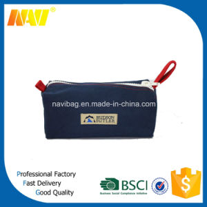 China Professional Bag Factory Produce Dark Blue Canvas Makeup Bag