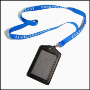 Convention Leather PU Name/ID Card Badge Reel Holder Custom Lanyard for ID Badge (NLC010) pictures & photos