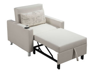 PU Single Sofa Bed with Cup Holder pictures & photos