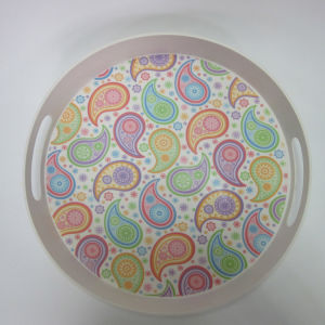 Bamboo Fiber Tray Round Serving Tray Paisley Design Tableware