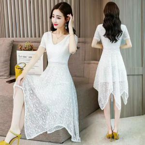 Summer Autumn Spring Women Long Sleeve Lace Dress Evening Party Office Formal Elegant Dresses
