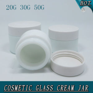 Luxury Cylinder Milk White Opal Glass Cosmetic Cream Jar pictures & photos