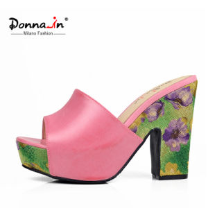 Lady Casual Leather Floral Weave Platform High Heels Women Sandals