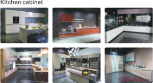 UV Wooden Grain MDF Kitchen Cabinet (ZH09) pictures & photos