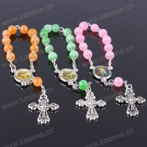 Handmade Jesus Green Rosary Bracelet with Diferent Saint Pictures