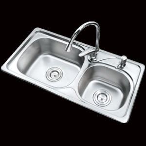 China 7740 Double Bowls Top Mount Sink Drop In Stainless Steel