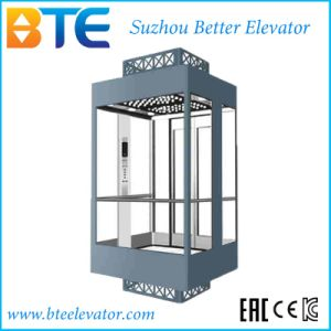 Vvvf Gearless Panoramic Passenger Elevator with Glass Cabin