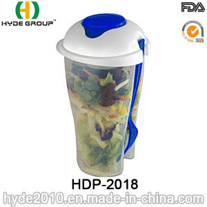 Wholesale Plastic Salad Container Shaker Cup with Fork (HDP-2018) pictures & photos