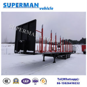 Heavy Duty 3 Axle Cargo Transport Semi Truck Trailer with Pole for Wood/Cargo pictures & photos