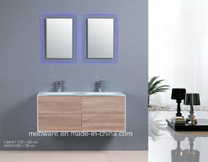 Double Sink Design MDF Bathroom Cabinet with Super White Glass Basin