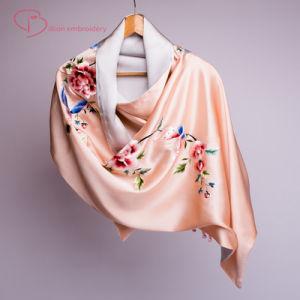b8bec83ab0552 China Ladies Silk Shawl &Scarf with Handmade Embroidery - China Silk Scarves,  Silk Scarf Clips