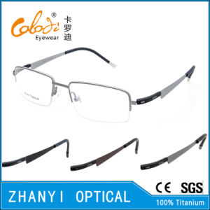 Latest Design Semi-Rimless Titanium Optical Glasses Frame Eyeglass Eyewear (1201-EW)