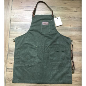 Custom Personalized Utility Olive Canvas Carpenter Aprons with Leather Strap