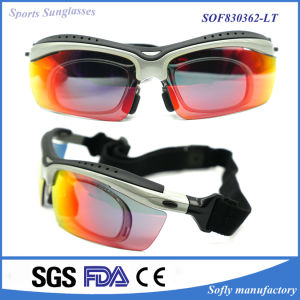 Wrap Around Back Padded Sports Mirrored Lens Goggles with Strap pictures & photos