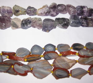 Fluorite Rough Nugget And Grey Agate Irregular Flats