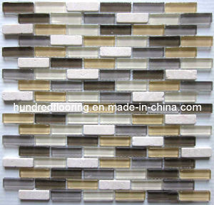 Strip Stone Mix Glass Mosaic Wall Tile (HGM261) pictures & photos