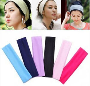 Wholesale Top Fashion Accessory Nylon Lace Flower Sport Yoga Elastic Bow Headband for Young Girls