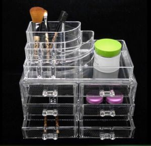 Makeup Cosmetics Jewelry Organizer Clear Acrylic 6 Drawers Display Box Storage pictures & photos