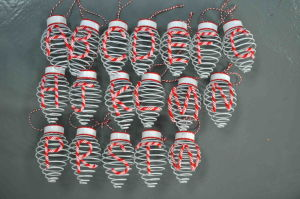 Polymer Clay Letter Hanging Ornament, Iron Wire with Lamp Bulb Shape Decoration