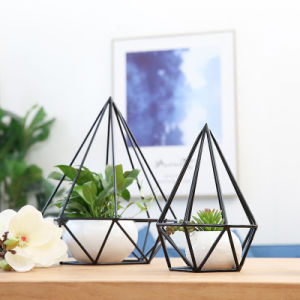 Iron Black Diamond Cage Set Home Decor