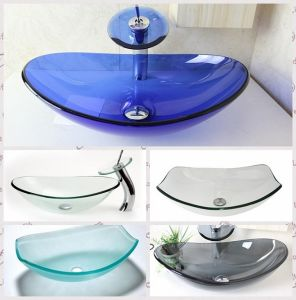 Modern Oval Bathroom Clear Glass Vessel Sink With Waterfall Chrome Faucet U0026  Pop Up Drain