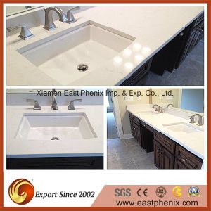 White Quartz Vanity Top for Hotel Commercial Project