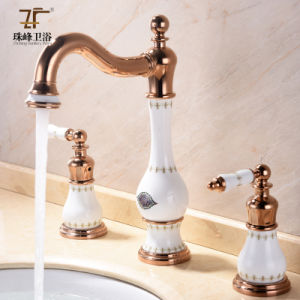 New Design Ceramic Antique Three-Hole Basin Faucet (Zf-607-1) pictures & photos