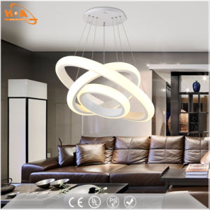 China Dining Room Light Three Round Rings LED Acrylic Pendant Lamp