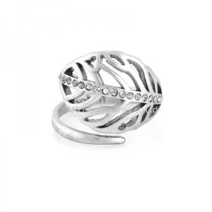 Silver Leaf Rings with Crystal Compatible with European Fit Original Same Ring Jewelry