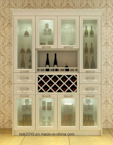 Frosted Glass Door Living Room Furniture Antique White Wine Cabinet N-6