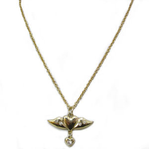 Fashion Jewelry Angle Wing Pendant Necklace, Made of Zinc-Alloy and Strass, 50 Cm Long, Hnk-11808
