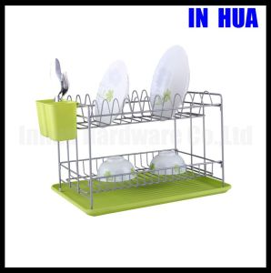 Manufacture Green Color Two Tiers Powder Coating Dish Rack